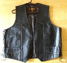 UNIK PREMIUM Black Leather Motorcycle Vest Biker Vest Size 52