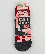 Monster Cat Socks Blue Q Cat Lover Kitty Kitten Cotton Nylon Blend Red Grey Pink