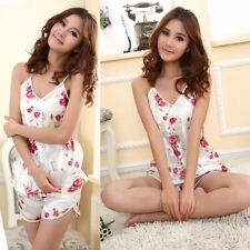 Women Summer Rose Flower Sleepwear Pajama Set Strap Tank Top T-Shirt  + Shorts