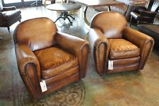 "Set of two 34"" W Club armchair top grain buffalo leather antique light brown"