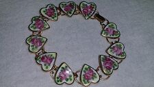 Vintage Gold Wash over Sterling Silver Guilloche Enamel Heart Charm Bracelet