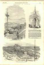 1852 Sketches In Burma Moulmein Pagoda Martaban Temple And School