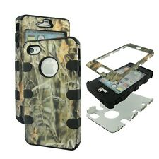 Blk  Camo Grass Hybrid 3 in 1 Apple  Iphone 4 4S Case Outer Hard & Soft Cover