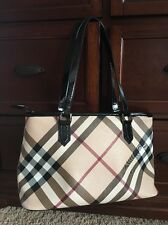 BURBERRY NOVA CHECK CANVAS & LEATHER TOTE SHOULDER BAG Patent Med Black
