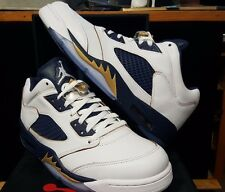 AIR JORDAN 5 RETRO LOW SZ 10.5 WHITE METALLIC GOLD STAR MIDNIGHT NAVY 81917
