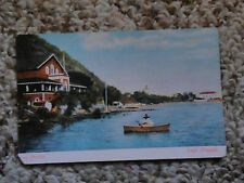 old vintage postcard Lago Chapala Mexico 507 canoe man water buildings antique