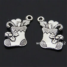 12pc Tibetan Silver Christmas stocking Pendant Charms Beads Accessories  PL122