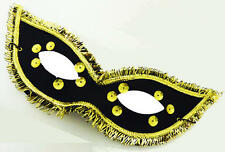 Black And Gold Domino Eye Mask Masquerade Ball Fancy Dress