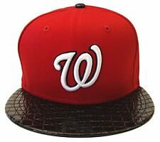 Washington Nationals New Era 9Fifty Crocodile Run Snapback Cap Hat Red Black