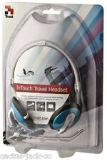 NEW BLUE INTOUCH HEADSET HEADPHONES MICROPHONE, INLINE VOLUME CONTROL, CARRY BAG