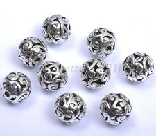 Round Metal Carved Hollow Tibetan Silver Spacer Beads For Jewellry 11MM