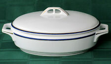 HUTSCHENREUTHER SELB - BAVARIA - OVAL COVERED CASSEROLE - WHITE, BLUE, GOLD #241