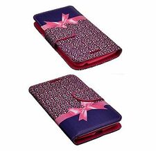 Samsung Galaxy Mega 2  PU Leather Flip Folio Wallet Pouch Case w/ Stand PINKBOW