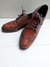 SEARS 74607 vintage brown leather oxfords long brogue wingtips shoes 10D NEW