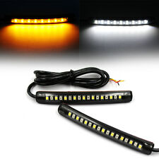 2x Flexible SMD White Amber 17 LED Strip Light Tail Light Turn Signal Indicator