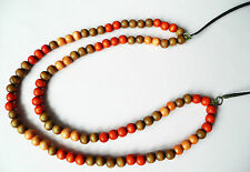 LONG DOUBLE ROW NECKLACE - WOODEN BEADS IN ORANGE, YELLOW & SOFT BROWN - NEW
