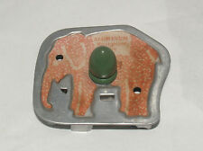 VINTAGE ALUMINUM RUST-PROOF PURE ELEPHANT COOKIE CUTTER GREEN HANDLE KITCHEN