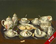 BEAUTIFUL ORIENT THEME FINE BONE CHINA TEA SET PAINTING ART REAL CANVAS PRINT