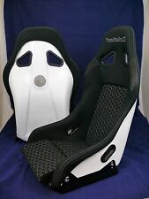 Pair InVictus A8L Race Bucket Seat White FRP Black Fabric with brackets 2 seats