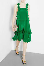 SEE by CHLOE green tiered silk dress abito vestito donna verde 40 IT (42) BNWT