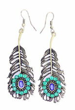 Vintage rétro style grand oeil de paon plume dangle earrings avec cristal