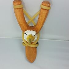 Eagle Wood Toy Slingshot Real Leather Pouch or Pocket Sling Shot