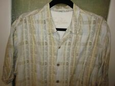 TOMMY BAHAMA IVORY/GOLD/YELLOW SHORT SLEEVE SZ MED CAMP SHIRT-FLORAL PATTERN