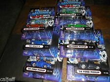 7 TRUCK LOT MUSCLE MACHINE 1/64 ALL DIFFERENT 1953 CHEVY PICKUP 1956 FORD WILLYS