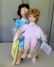 William Tung Harriet and Heather Porcelain Doll Set With Wooden Rocking Chair