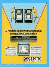 QUATTROR984-PUBBLICITA'/ADVERTISING-1984- SONY - VIDEOREGISTRATORE BETA HI-FI