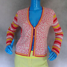 Womens Oilily Wool Blend Cardigan Sweater Small 4 6 Nordic Floral Roses Cardi