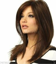 100% Real hair! New Golden brown Straight Partial bangs Really Hair Wig