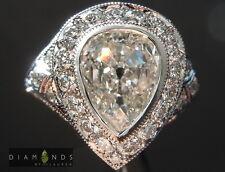 1.70ct I SI2 Old Cut Pear Diamond Ring GIA R5955 Diamonds By Lauren