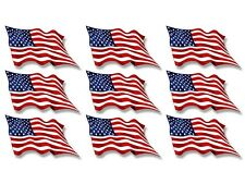 Sheet of 9 (1x2 inch) WAVING United States Flags Stickers - scrapbooking usa us