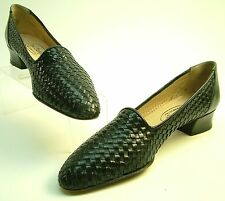 WOMEN JOEL PARKER ITALY BLACK BRAIDED WOVEN LEATHER HEELS PUMPS SHOES SZ 7 AAAAA