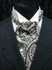 Mens black cream & green paisley ascot wedding old west ascot cravat tie
