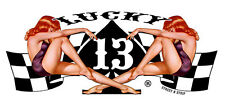 LUCKY 13 GIRLS SPADE CHEQUERED FLAGS STREET N STRIP RETRO STICKER