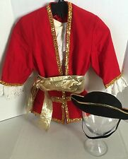 Captain Hook Pirate Costume Red Coat Ruffled Shirt Sash Hat Child Sz 5-6 Yrs