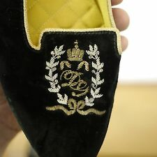 DOLCE & GABBANA Italy Black Velvet Crest Logo Flats Slippers Womens Shoes 7.5 38