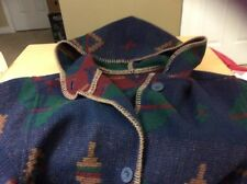 Woolrich Coat Women sz M Hooded Long Southwestern Indian Blanket Wool Aztek