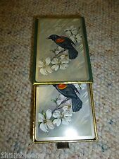 Vintage Pinochle Playing Cards Silver sides 606 Congress Black Bird Velvet Case