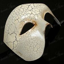 Men Classic Masquerade Mask Half Face Phantom Mask Halloween Costume - Ivory