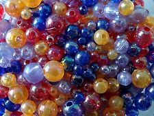 50g Acrylic Round Jewellery/Craft Beads Assorted Colours & Sizes