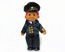 """Vintage RARE RUSS Travis Troll Doll CAPTAIN PILOT Black Suit & Cap Red Hair 6"""""""