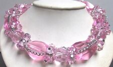 Vintage 70's Chunky Large Pink Glass Crystal Bead Cluster Necklace