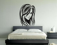 Wall Vinyl Sticker Decals Decor Mural Beautiful Girl Woman Hair Salon Sign #048