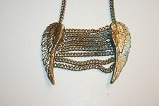 Wow Beautiful Unique Vintage Silver Tone Angel Wings Necklace Biker Chains 15'