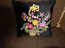 flower Baskit on Black Velvet Handmade Cushion pilow cover Multi Color On Black