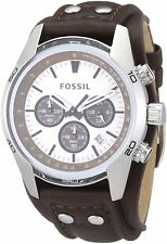 Fossil CH2565 Men's Cuff Chronograph Brown Leather Watch - New in Box