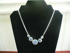 "Vintage Silvertone Metal Chain Teal Cobalt Enameled Disk Pendant 17.5"" Necklace"
